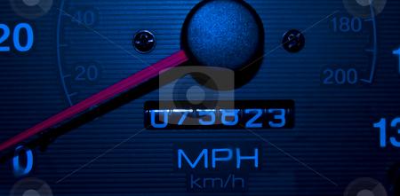 Blue Speedometer Tachometer Night Shot stock photo, Blue Dashboard Speedometer Tachometer Night Shot With Bright Red Indicator by Robert Davies
