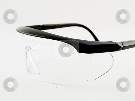 Safety Goggles With Clear Plastic and Black Rim stock photo, Safety Goggles With Clear Plastic and Black Rim Isolated on White by Robert Davies