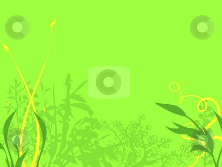 Yellow Plants and Green Leafy Illustration stock photo, Abstract Background Texture Flowers and Leaves in Dark Green and Yellow on a bright Green Background by Robert Davies
