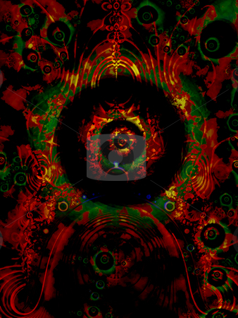 African or Aboriginal Style Eye Fractal Pattern stock photo, African or Aboriginal Style Eye Fractal Pattern with Dark Red and Gloomy Green Forest Flame Effects by Robert Davies