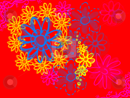 Psychadelic Flowers on Bright Red Design Illustration stock photo, Psychadelic Flowers on Bright Red Design Illustration Background by Robert Davies