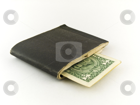 Old Chequebook and One Dollar Bill on White Background stock photo, Old Chequebook and One Dollar Bill on White Background by Robert Davies