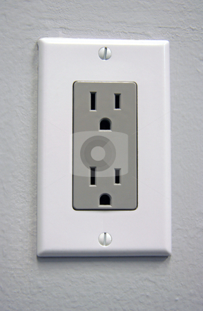 Electrical Outlet stock photo, A white electrical outlet with gray plate for US power by Kevin Tietz