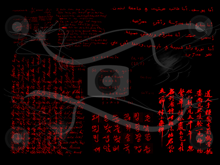 Various Handwriting Samples in Red on Black stock photo, Various Handwriting Samples in Red on Black with Cracks by Robert Davies