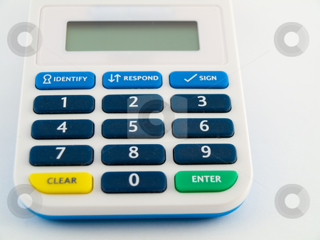 Bank Security Pin Code Safety Device Calculator stock photo, Bank Security Pin Code Safety Device Calculator Keys by Robert Davies