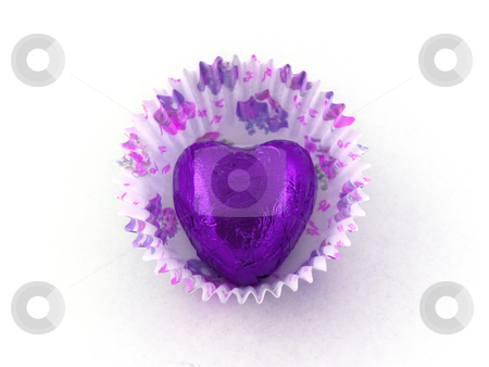 Purple Heart Chocolate in Paper Cake Case stock photo, Purple Heart Chocolate in Paper Cake Case by Robert Davies