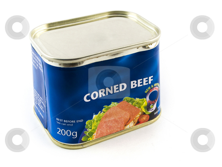 Corned Beef Tin Can on White Background stock photo, Corned Beef Tin Can on White Background by Robert Davies