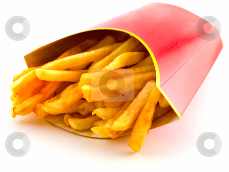 Salty Greasy French Freedom Fries stock photo, Salty Greasy French Freedom Fries Fast Food On White Background by Robert Davies