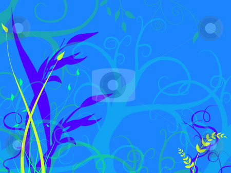 Bright Blue Underwater Sea Ocean Bed stock photo, Underwater Foliage Growing On Sea Ocean Bed with  a light Blue Tone and Green and Purple Flowers Plants Grass Illustration Design by Robert Davies