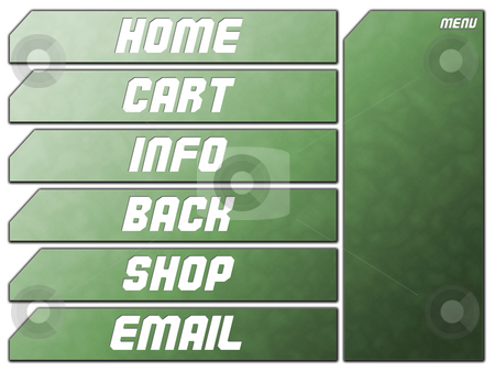 Green Futuristic Website Navigation Stone Buttons stock photo, Green Futuristic Website Navigation Stone Buttons Home Cart Infor Back Shop Email by Robert Davies