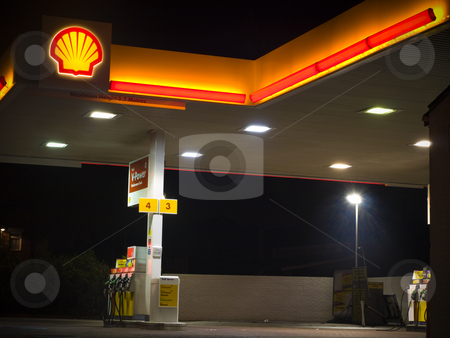Shell Petrol Gas Station Forecourt at Night stock photo, Shell Petrol Gas Station Forecourt at Night For Editorial Use Only by Robert Davies