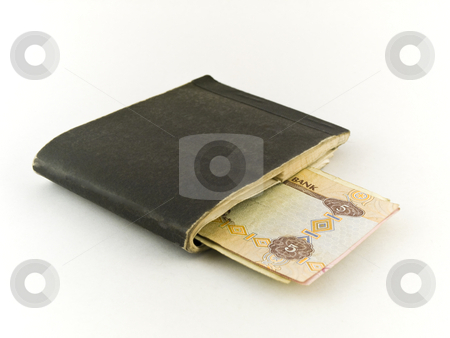Old Chequebook and Five Dirham Note on White Background stock photo, Old Chequebook and Five Dirham Note on White Background by Robert Davies