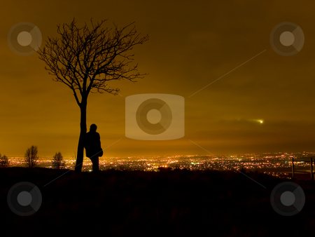 Silhouette of Man Stood By Tree Overlooking Cityscape stock photo, Silhouette of Man Stood By Tree Overlooking Cityscape at Night by Robert Davies