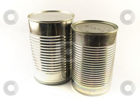 Two Shiny Food Tin Cans stock photo, Two Shiny Food Tin Cans on White Background by Robert Davies