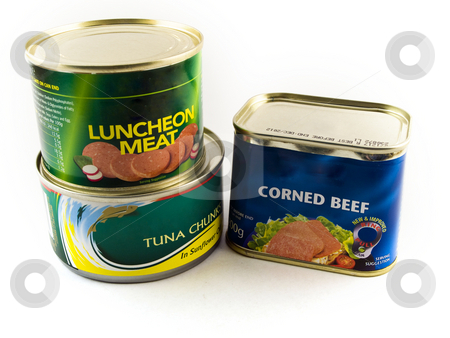 Canned Tins of Meat and Fish on White Background stock photo, Canned Tins of Meat and Fish on White Background by Robert Davies