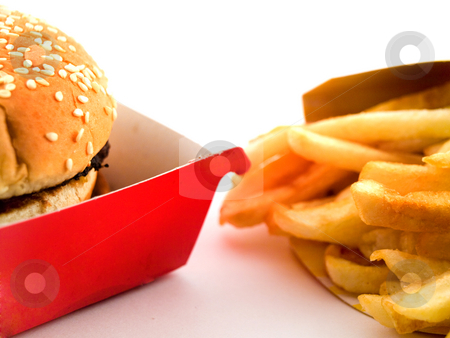 Burger and Fries in Cardboard stock photo, Burger and Fries in Cardboard Fast Unhealthy Food on White Background by Robert Davies