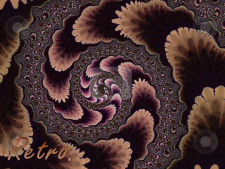 Brown Fractal Spiral 2d Pattern With Retro Text stock photo, Brown Fractal Spiral 2d Pattern With Retro Text. Looks like wallpaper from the 50s to 70s era by Robert Davies