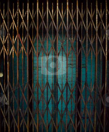 Rusty Elevator Gates and Dark Lift Shaft stock photo, Rusty Elevator Gates and Dark Lift Shaft by Robert Davies