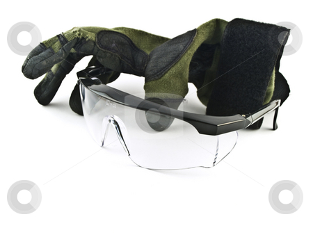 Safety Goggles Glasses and Gloves on White Background stock photo, Safety Goggles Glasses and Gloves on White Background by Robert Davies