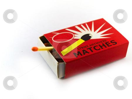 Matches and Matchbox on White Background stock photo, Matches and Matchbox on White Background by Robert Davies