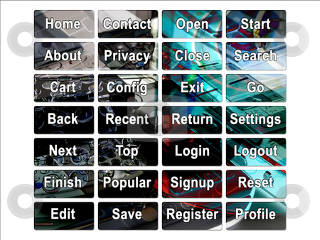 Dark PDA Mobile Cellphone Web Interface Site Buttons stock photo, Dark PDA Mobile Cellphone Web Interface Site Buttons by Robert Davies