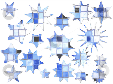 Abstract Cartoony Blue Square Blocks Star Shaped Special Offer a stock photo,  by Robert Davies