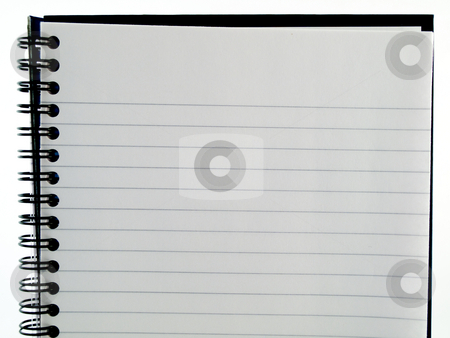 Plain White Lined Ringbound Notebook Page of paper on White Back stock photo, Plain White Lined Ringbound Notebook Page of paper on White Background by Robert Davies