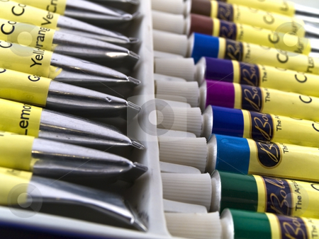 Oil Paints in White Box stock photo, Oil Paints in White Box by Robert Davies