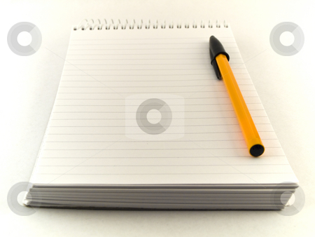 Ballpoint Pen and Notepad on White Background stock photo, Ballpoint Pen and Notepad on White Background by Robert Davies