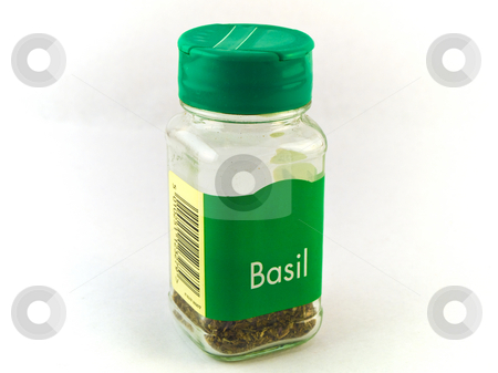 Jar of Basil Herbs on White Background stock photo, Jar of Basil Herbs on White Background by Robert Davies