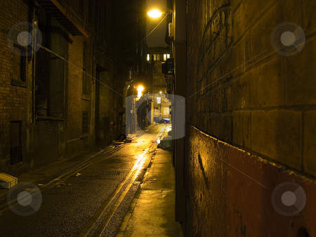 Scary Dark Alleyway at Night stock photo, Scary Dark Alleyway at Night Taken In Manchester, UK Chinatown by Robert Davies