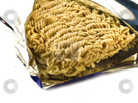 Dried Egg Noodles in Foil on White Background stock photo, Dried Egg Noodles in Foil on White Background by Robert Davies