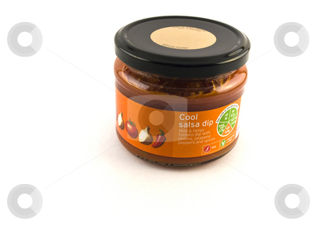 Jar of Tomato Chilli Salsa on White Background stock photo, Jar of Tomato Chili Salsa on White Background by Robert Davies