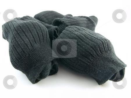 Plain Black Socks on White Background stock photo, Plain Black Business Work Socks on White Background by Robert Davies