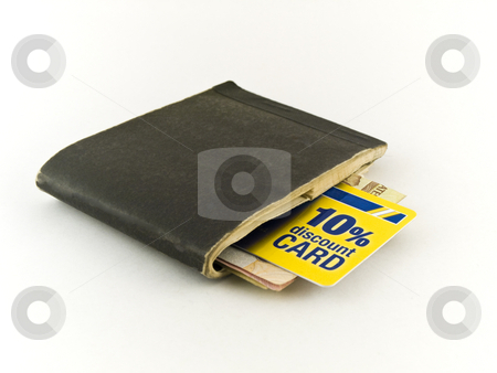 Old Chequebook and Discount Credit Card on White Background stock photo, Old Chequebook and Discount Credit Card on White Background by Robert Davies