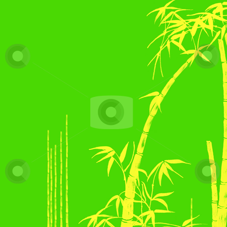 Bamboo Tropical Design Illustration Background stock photo, Yellow Bamboo Tropical Design Illustration on Green Background by Robert Davies