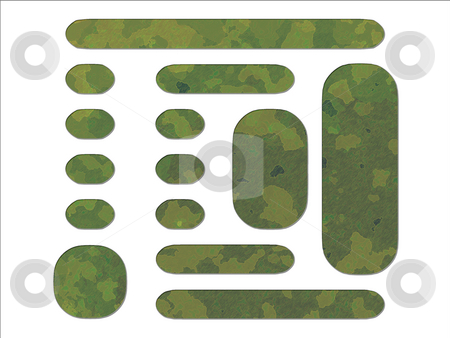 Green Jungle British DPM Style Military Camouflage Effect Web In stock photo, Green Jungle British DPM Style Military Camouflage Effect Web Interface Buttons by Robert Davies