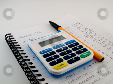 Bank Pin Number Security Calculator With Biro Pen Stylus on Whit stock photo, Bank Pin Number Security Calculator With Biro Pen Stylus on White Note Paper Showing a Home or Small Business Financial Budget by Robert Davies