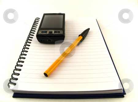 Ballpoint Pen and Mobile Phone on Notebook White Background stock photo, Ballpoint Pen and Mobile Phone on Notebook White Background by Robert Davies