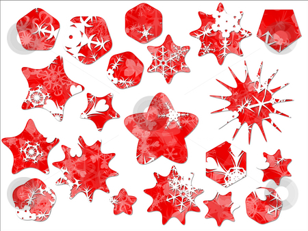 Christmas Snow Snowflakes on Red Special Offer Holiday Sales Sti stock photo, Christmas Snow Snowflakes on Red Special Offer Holiday Sales Stickers Star Shaped by Robert Davies