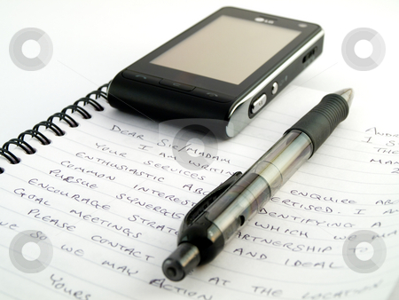 Handwritten Letter Writing With Pen Biro Ballpoint and Mobile Ph stock photo, Handwritten Letter Writing With Pen Biro Ballpoint and Mobile Phone by Robert Davies