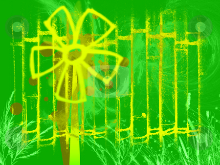 Cartoon Windmill Generator in Yellow on Green stock photo, Cartoon Windmill Generator in Yellow on Green Background with Bamboo Effect and Wind Swoosh Style by Robert Davies