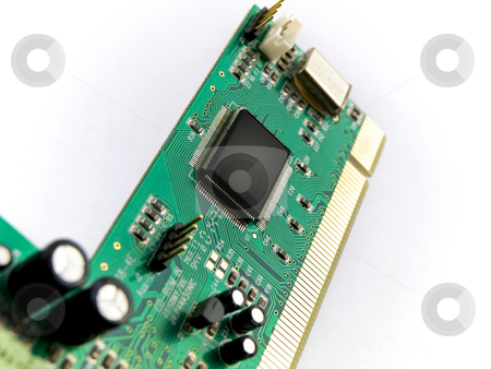 Green Circuit Board PCI on White Background stock photo, Green Circuit Board PCI on White Background by Robert Davies