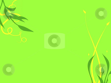 Abstract Background Texture Flowers and Leaves stock photo, Texture Flowers and Leaves in Dark Green and Yellow on a bright Green Background by Robert Davies