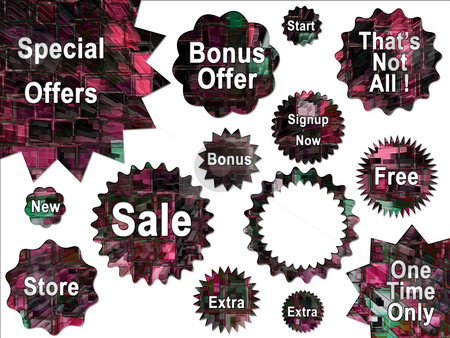 Digital High Rise Buildings Abstract Stars and Special Offer Sti stock photo, Digital High Rise Buildings Abstract Stars and Special Offer Stickers by Robert Davies