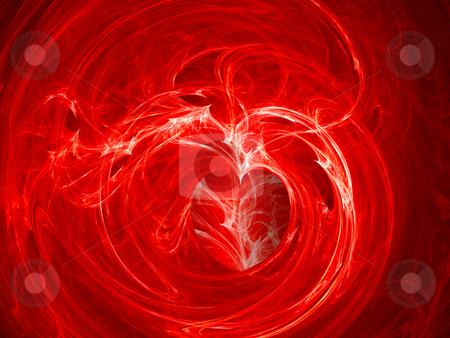 Fractal Swirly Heart on Fire Background stock photo, Fractal Swirly Heart on Fire Background by Robert Davies
