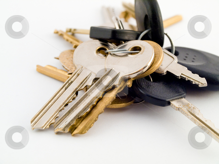 Set of House and Car Keys on White Background stock photo, Set of House and Vehicle Keys on White Background by Robert Davies