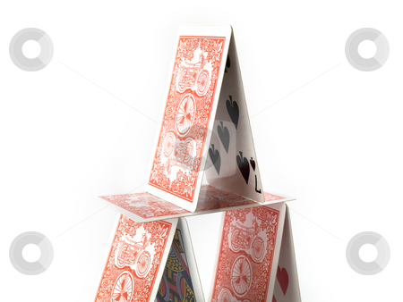 House of Cards on White Background stock photo, Balanced House of Cards on White Background by Robert Davies