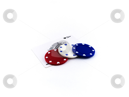 Red White and Blue Poker Chips on Playing Cards stock photo, Red White and Blue Poker Chips on Playing Cards by Robert Davies