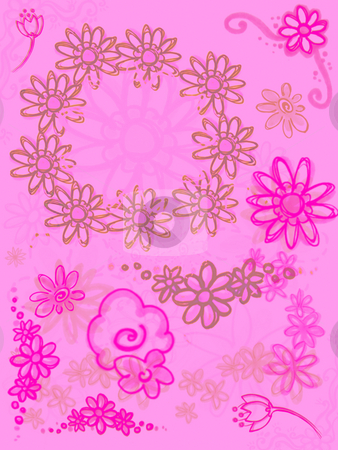 Bright Pink Purple Flowers on Soft Pink stock photo, Bright Pink Purple Flowers on Soft Pink Background Design 2d by Robert Davies